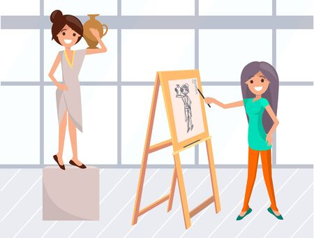 Drawing classes vector, lady painting portrait of model wearing greek dress and holding amphora. Female with paintbrush and easel classes in school