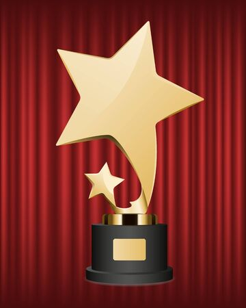 Trophy for actor or actress vector, isolated prize on red curtain background. Award on pedestal in form of stars, recognition of winner best reward