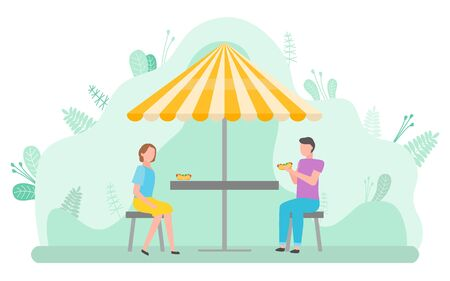 Man and woman having lunch outdoors vector, breakfast in eatery. Morning in park, characters sitting under umbrella shade enjoying meal on terrace