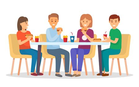 People in fast food restaurant for dinner or lunch. Friends and family eating out in cafe. Table with meals like hot dog, burger and soda. Men and women isolated on white. Vector illustration in flat Illusztráció