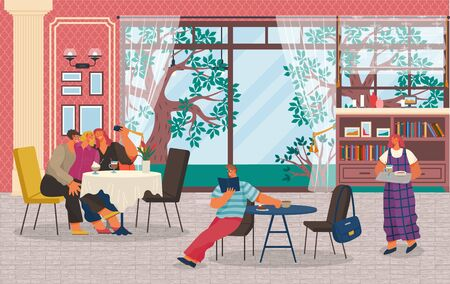 Friends spend leisure time together in restaurant. People having breakfast, lunch or coffee break. Waiter bring order for man sitting alone. Big windows with beautiful landscape. Vector illustration Illustration
