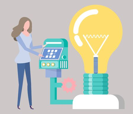 Working lady with innovation vector, invention development lightbulb with monitor and buttons for controlling, woman typing info and managing process