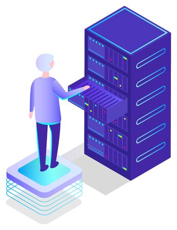 Worker with database info vector, information storage in datacenter isolated character. Personage with modern technologies and innovations. Man analyzing data. Illustration in isometric 3d style
