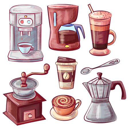Equipment for brewing coffee vector, isolated icons of hand drawn devices for beverage brewing. Coffeemaker machine and grinder, cup for taking away