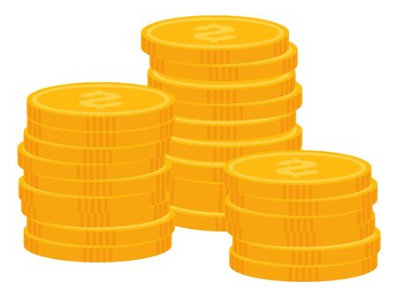 Pile of coins vector, isolated icon of money. Flat style monets business profit gain from project, gold dollar coin, treasure wealth and financial stability, assets 向量圖像