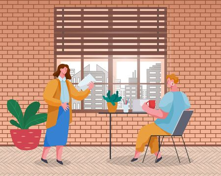 Female character presenting to partner ideas on paper. Office workers working in team. Project manager controlling quality of tasks completion of newcomer. Professionals vector in flat style