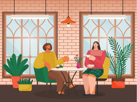 Cafe shop and people relaxing, eating out, modern place interior, drink and snack vector. Man and woman chat, have rest or enjoy free time. Restaurant in loft style, couple drinks coffee illustration
