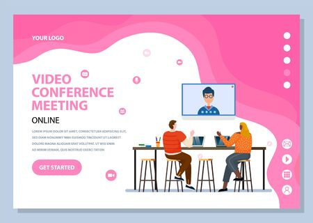 Video conference meeting via modern technologies and gadgets. Characters talking to boss online, using pc. Employees discussing problems. Website or webpage template, landing page vector in flat style 일러스트