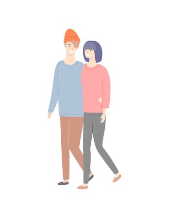 Man and woman walking vector isolated couple. Girlfriend and boyfriend in casual cloth sweaters and trousers spend time together, people in love dating