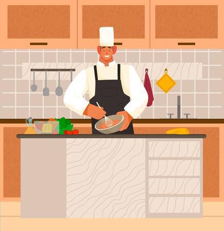 Man stand by table in kitchen at home or restaurant. Chef cook meal from products on desk. Interior with wooden surfaces and shelves with kitchenware and plates. Vector illustration of cooking process Illustration
