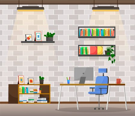 Office of boss or director. Working space of ceo executive of company. Table with personal computer and cup of coffee. Shelves with books and documents or files. Interior vector in flat style 일러스트