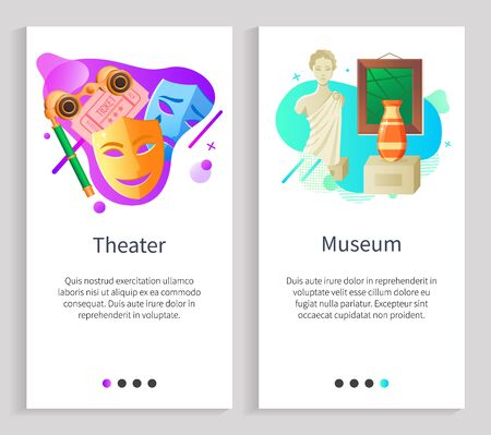 Museum exhibition and theater vector, items collected in one place, sculpture of woman and vase, painting of antiquity. Drama and comedy mask. Website or slider app, landing page flat style Vectores