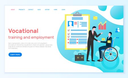 Vocational training and employment, disabled person on wheel chair working in business company. Boss and employee, profile with info on candidate cv. Website or webpage template, landing page vector