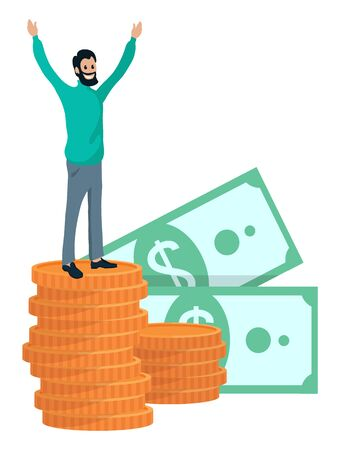 Man and profit from business vector, successful person with pile of money. Coins and banknotes dollar american currency. Businessman happy character 向量圖像