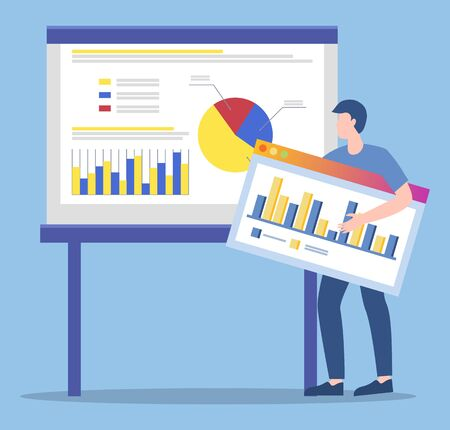 Worker presenting ideas on audience engagement growth. Businessman with plan or startup. Presentation of employee with report on data analysis. Partner explaining charts and diagrams vector in flat 일러스트