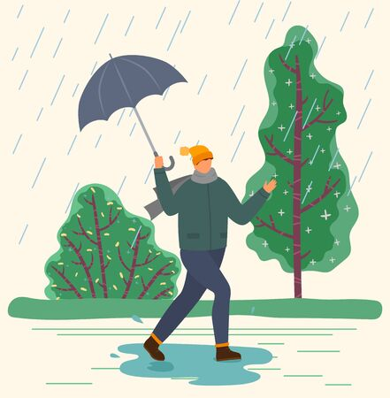 Character with umbrella under autumn rain walking on puddles vector. Rainfall and fall weather, guy in warm clothes with parasol, seasonal forecast changes. Person and outdoor activity illustration