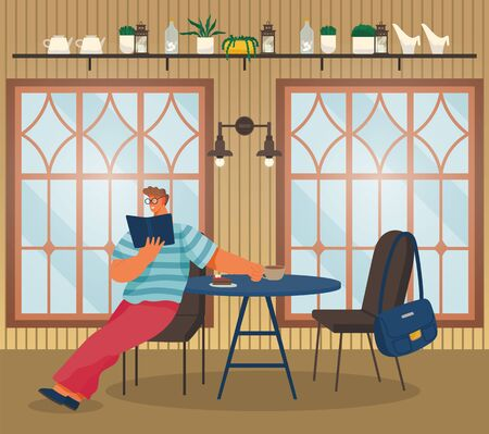 Man sit on chair and read book in coffeehouse. Cup with beverage and dessert on surface. Person drink coffee and eat cake. Cozy cafe interior with big windows. Vector illustration in flat style Foto de archivo - 141067556
