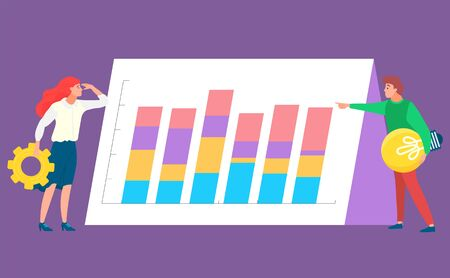 Man and woman standing near graph report, data analysis. Worker developing or researching, colorful columns, employee and chart, business icon vector