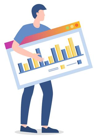 Worker holding board with information in structural form. Visualized data for analysis. Report statistics on table. Businessman with ideas for startup of company development, vector in flat style