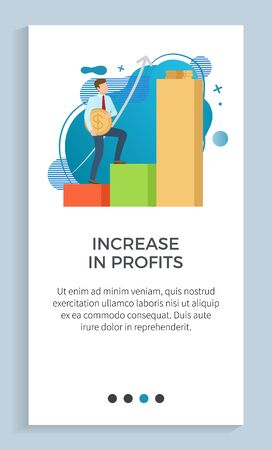 Increasing in profit vector, infochart with gold coin dollar, male holding money walking up charts American currency businessman successful worker. Website or app slider, landing page flat style