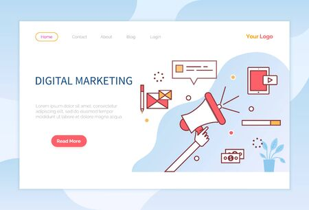 Digital marketing, advertising and promoting posts in internet. Developing business with means of modern technologies. Commerce strategy. Website or webpage template, landing page vector in flat