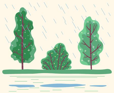 Rainfall in park with green trees. Raining bad weather with big raindrops and puddles on ground. Seasonal changes in temperature and level of moisture. Wet plants in forest, vector in flat style