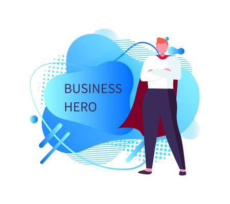 Business hero vector, person wearing special formal suit standing in posture posing, male flat style. Abstract design, businessman with red mantle 일러스트