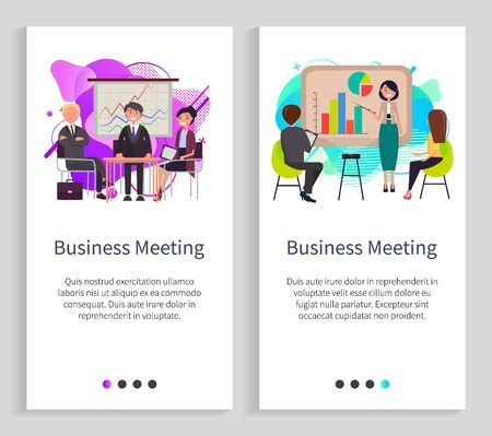 Business meeting vector, woman giving presentation presenting new concept and details of project, whiteboard with planning, partners set. Website or slider app, landing page flat style 일러스트