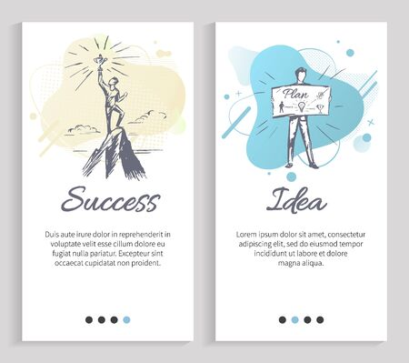 Idea vector, success of person standing on peak of mountain and holding trophy, business concept and implementation of planned project set. Website or slider app, landing page flat style