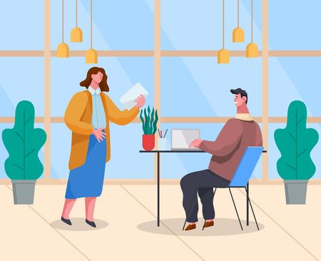 Manager giving piece of paper to programmer. Developer working on laptop with new projects waiting for tasks. Office characters at work. Supervisor and worker, teamwork. Vector in flat style