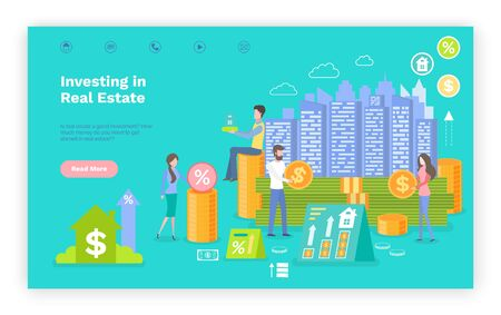 Investing in real estate vector, people with money giving assets on construction and building of new homes. Businessmen with financial decisions. Website or webpage template, landing page flat style