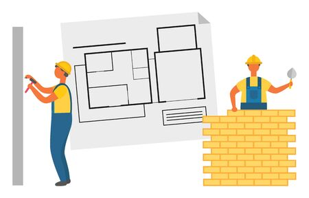 Builder with putty knife laying bricks, worker hammering pin into wall. Project of building house, construction zone and engineers, repair with tool vector