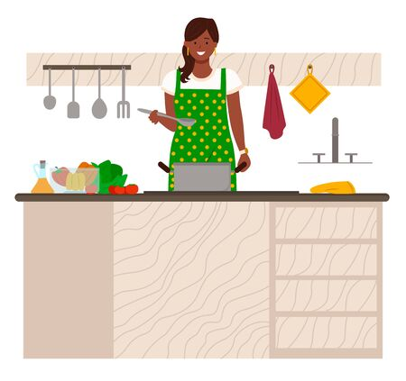 Woman stand by table in kitchen. Lady boil soup in pan. Kitchenware and vegetables on desk. Ingredients for meal like cabbage and pepper, tomato and oil. Vector illustration of cooking in flat style
