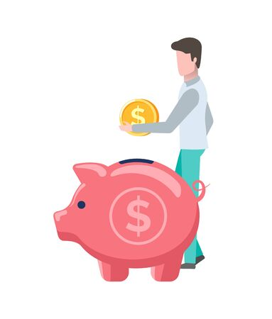 Man saving money vector, investment and savings of male holding gold coin dollar currency American finance flat style. Pig container for finances