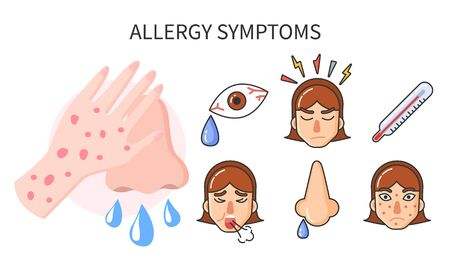 Common symptoms of allergy. Explanation of disease set of isolated icons. Fever and running nose, rashes and headache cough. High temperature and influenza illness. Vector in flat style illustration