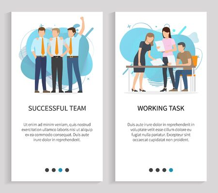 Working task vector, successful team thinking on project solution, man and woman with papers and analyze information on documents happy teamwork. Website or slider app, landing page flat style 일러스트