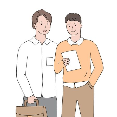 Businessmen reading document vector, man wearing formal clothes looking at note page in hands of co-worker, people at work dealing with business issues 일러스트
