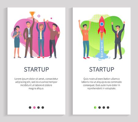 Startup vector, successful team of entrepreneurs, man and woman teamwork. Businessmen launching rocket in space, idea of workers, success. Website or slider app, landing page flat style