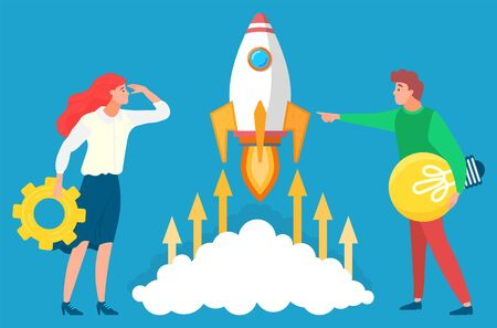 People managers looking at rocket and future. Business tools for innovations and cooperation. Vector illustration on blue background in flat style 일러스트