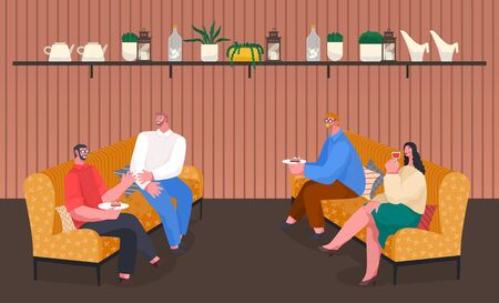Home reception of friends sitting on sofa with cushions and speaking together. Conversation of man and woman eating cake and drinking wine. People sitting on soft place with pastry food vector