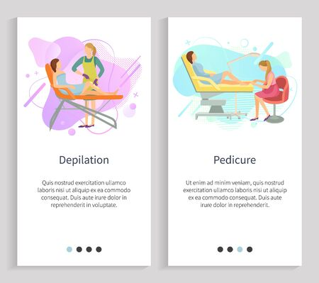 Manicure and pedicure vector, pedicurist and manicurist with clients polishing nails and making fingers and toes shine, beauty salon treatment. Website or slider app, landing page flat style