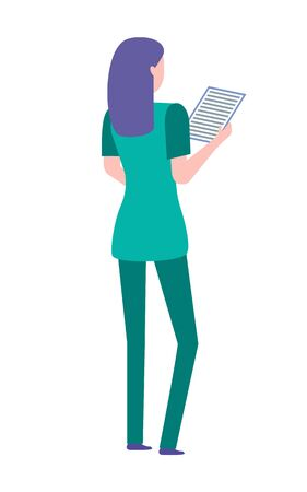 Female doctor wearing green uniform and holding a clipboard with medical paperwork. Female medical worker with purple hair, healthcare, hospital vector