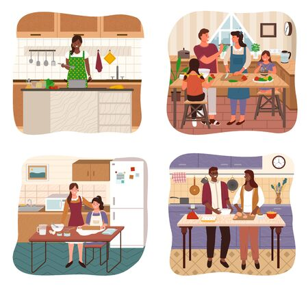 People cooking together in kitchen. Smiling man and woman in apron preparing dish at home. Happy couple and parents with children standing near table or stove with vegetables or dough vector