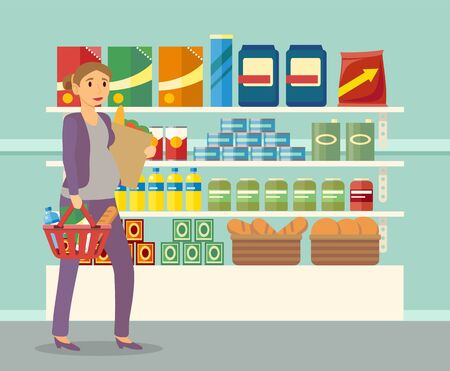 Expectant mom in shop buying food. Shopping pregnant woman carrying heavy package with bread and meals. Lady passing shelves with products in supermarket. Girl with basket, vector in flat style