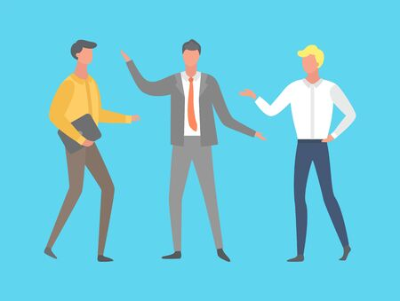 Teamwork conversation and strategy, men full-length and portrait view in suit. Businessman or colleagues discussion, people isolated on blue vector Vektoros illusztráció