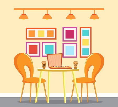 Pizzeria with Italian food vector. Interior of pizza house, food in box and beverage in plastic cups. Coffee drink, interior with pictures in frame and lamps