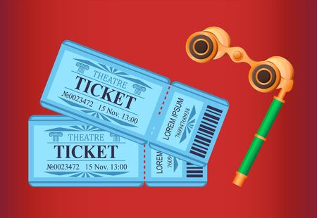Monocle Tickets for watching play in theater vector, special glasses with handle for enjoying performance. Vintage admission pass for customers, entrance