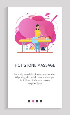 Hot stone massage procedure vector, woman therapist dealing with clients pain in back, lady with customer laying on table and relaxing rest. Website or app slider template, landing page flat style Vektoros illusztráció