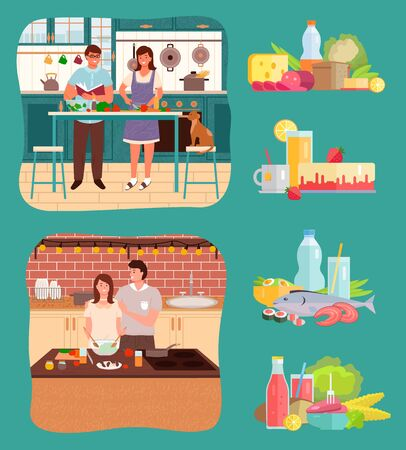 Two couples stand by tables in kitchen. Kitchenware, cutlery and products for meal on desk. Icons of ingredients and food, vegetables and fruits, liquids and cake, fish and meat. Vector illustration Vektoros illusztráció