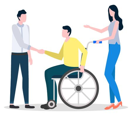 Disabled man sitting on wheelchair. Guys talking with each other. Woman assist handicap person with disability or injury. Socialization of paraplegic human. Vector illustration in flat style Vettoriali